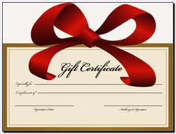 Gift certificate with bow